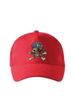 Sapca personalizata, Pirate Skull, Adler, Rosu, Catarama metalica reglabila