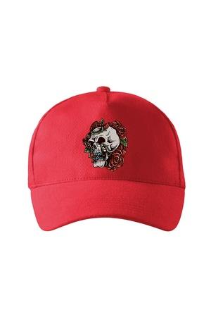 Sapca personalizata, Red Rose Skull, Adler, Rosu, Catarama metalica reglabila