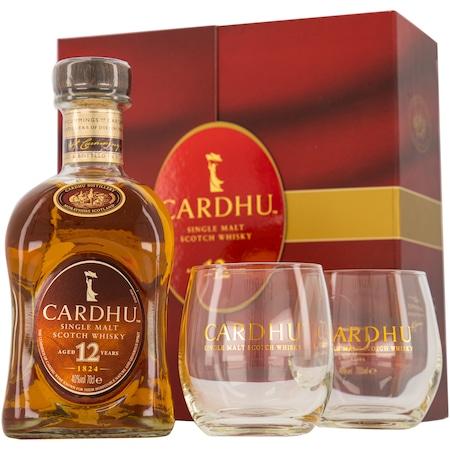 Pachet Whisky Cardhu Single Malt + 2 Pahare, Editie 2020, 40%, 0.7l