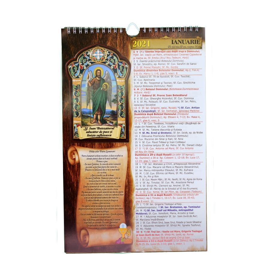 Calendar de perete crestin ortodox 2021, format A4 + carticica de
