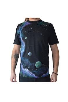 Tricou Univers Galaxie si planete, Pictat manual, 100% Bumbac, Negru