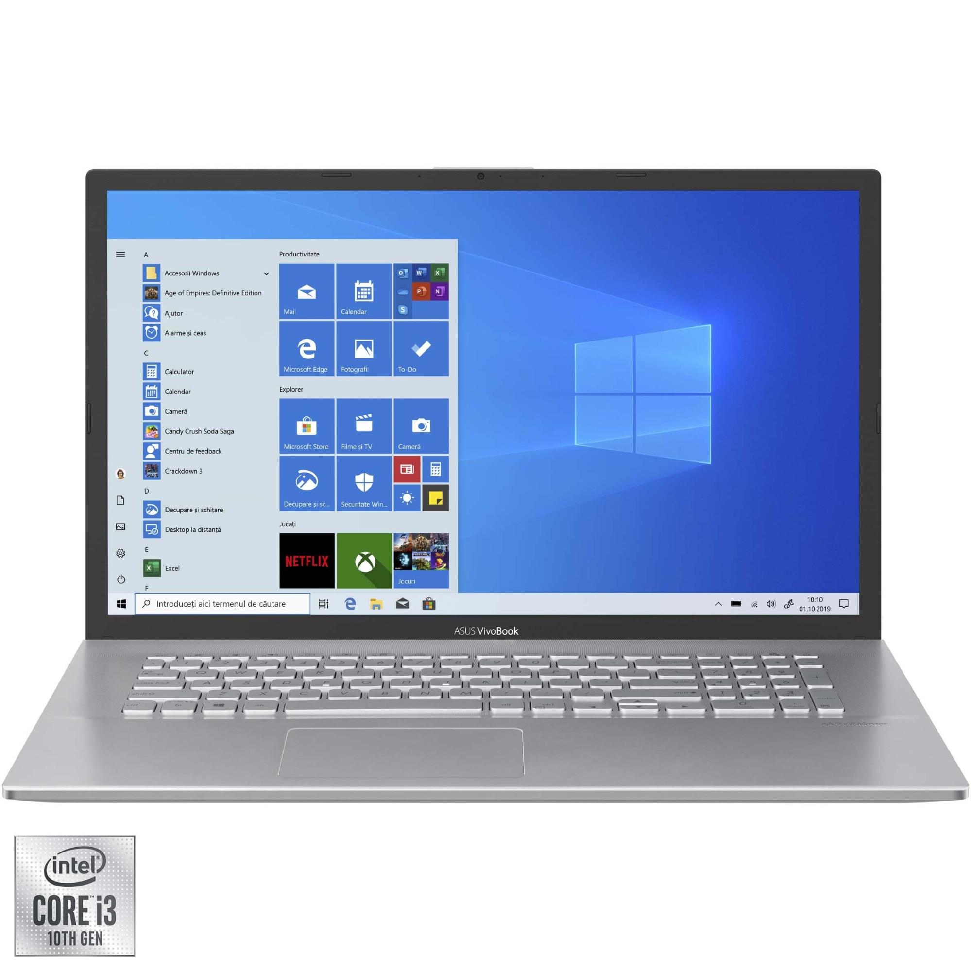 "Fotografie Laptop ASUS VivoBook X712FA cu procesor Intel Core i3-10110U pana la 4.10 GHz, 17.3"", Full HD, 4GB, 256GB SSD, Intel UHD Graphics, Windows 10 Home, Silver"