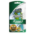 Комплект Wilkinson Extreme 3 Sensitive: Самобръсначка за еднократна употреба, 4 броя