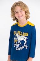 U.S. Polo Assn., Памучна пижама с десен, Тъмносин / тъмносив / шафран, 140-146 CM Standard