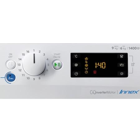 Пералня със сушилня Indesit BDE961483XWSEUN, 9 кг пране, 6 кг сушене, 1400 об/мин, Клас A, Инверторен мотор, Цифров дисплей, Бял