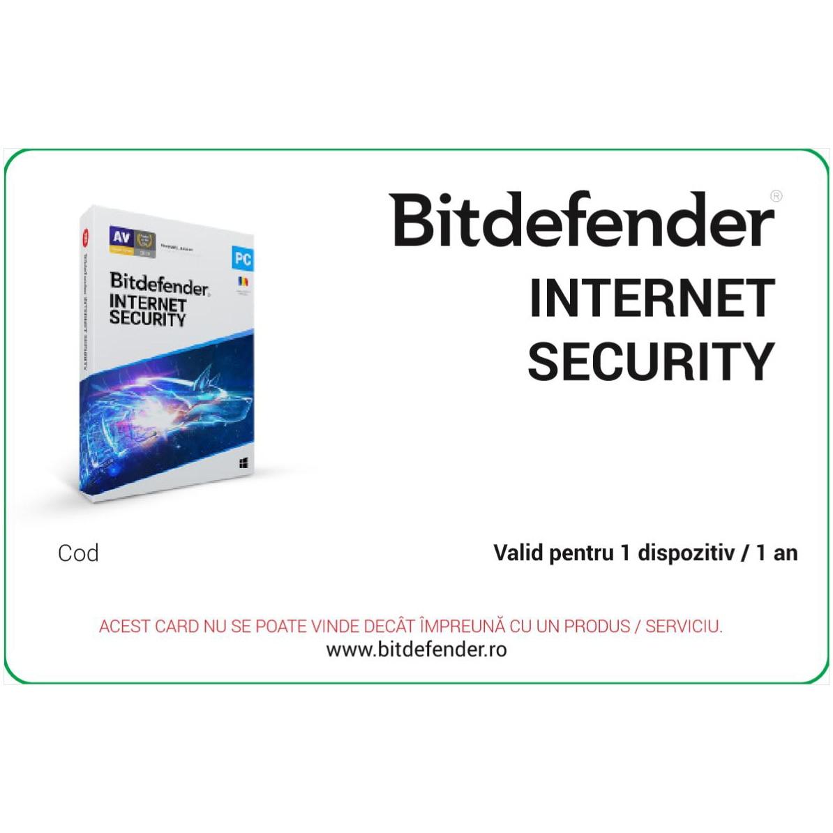 Fotografie Licenta Bitdefender Internet Security valabila pentru 1 dispozitiv 1 an, scratch card