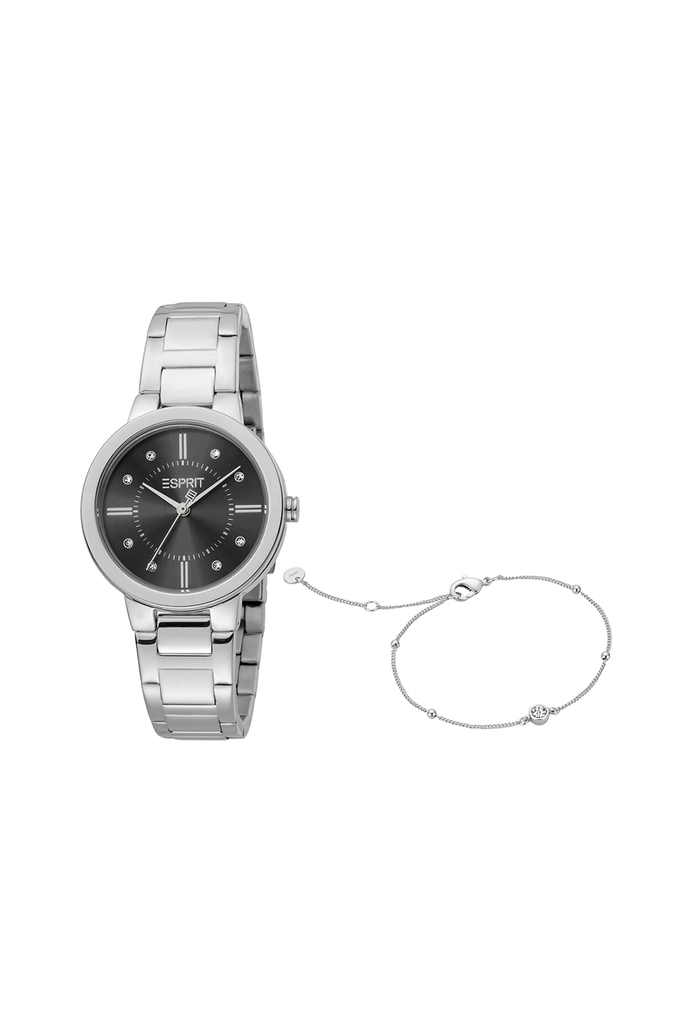 Fotografie Esprit, Set de ceas de otel inoxidabil si bratara, Argintiu