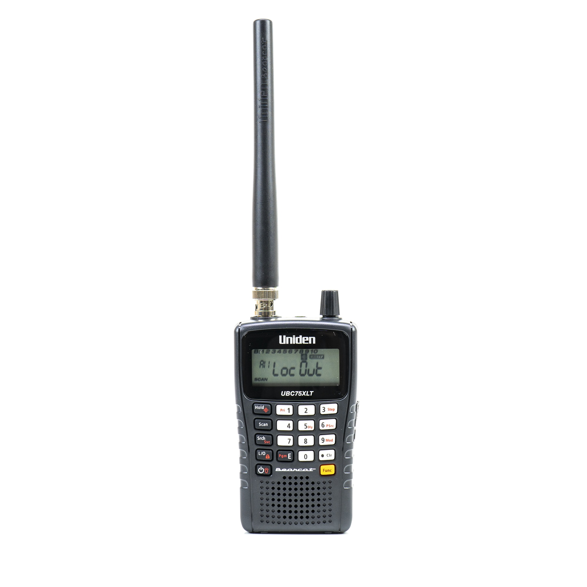 Fotografie Scaner portabil Uniden UBC75XLT, 300CH, 25-88 MHz, 108-174 MHz, 400-512MHz cu antena si acumulatori 2 x 2300mAh inclus