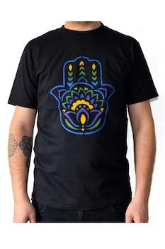 Tricou mana Hamsa traditionala, Negru, Pictat manual, 100% Bumbac, Negru