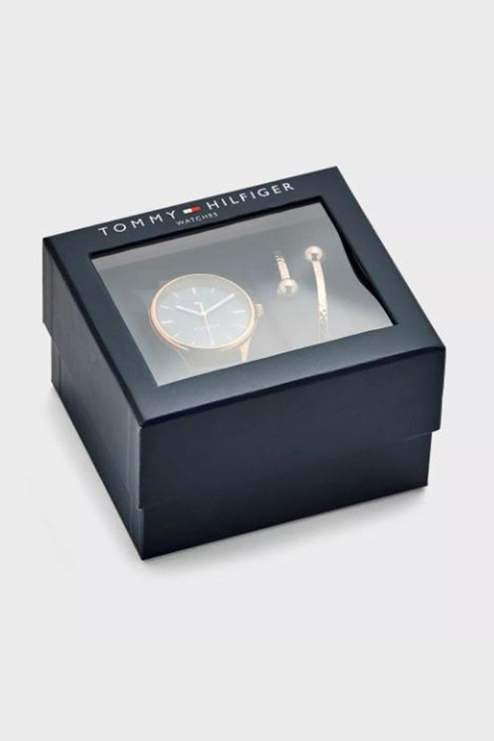 Fotografie Tommy Hilfiger,Set de ceas cu o curea de piele si bratara, Auriu rose/bleumarin