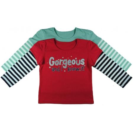 Csíkos ujjú felső szett, 2db-os, 'Gorgeous Girls', piros-zöld csíkos ujj, 12-24 hó