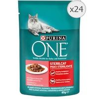 Мокра храна за котки Purina One Sterilcat, Мини филенца в сос, Сьомга & Моркови, 24 x 85 гр