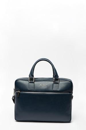 Pierre Cardin, Bőr laptoptáska levehető vállpánttal, Tengerészkék