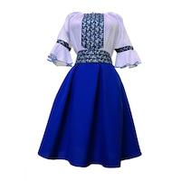 Costum popular dama zona Munteniei, Bumbac/Minimat, Albastru/Argintiu, XS
