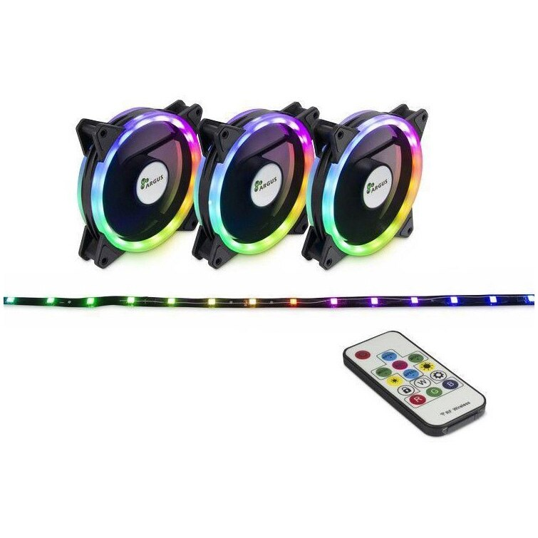 Fotografie Ventilator Inter-Tech Argus RS-04 RGB, 120mm, Kit Fans + RGB LED Strip