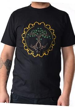 Tricou pictat manual, Copacul Vietii Mandala, Bumbac, Negru