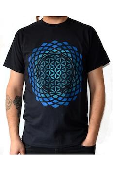 Tricou Floarea vietii, Pictat Manual, Negru/Albastru