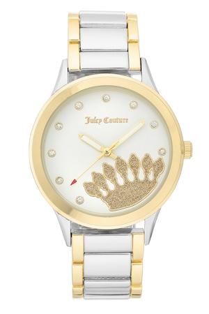 Juicy Couture, Аналогов часовник с кристали на циферблата, Сребрист/Златист