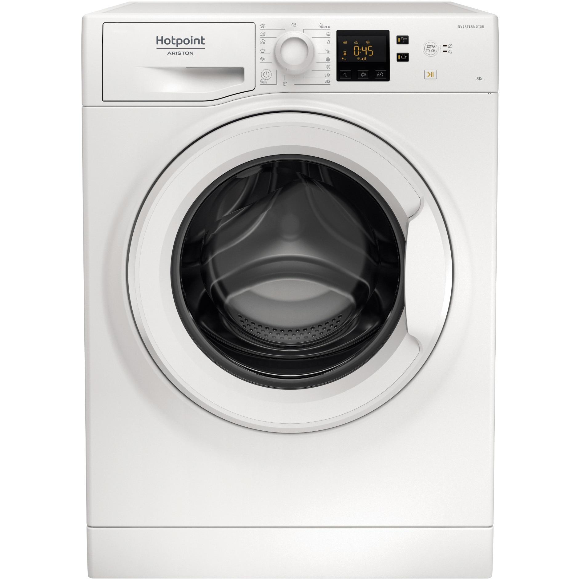Fotografie Masina de spalat rufe Hotpoint NS823CWEUN, 8 kg, 1200 RPM, Clasa A+++, Motor Inverter, Steam Hygiene, Wool Hand Wash Safe, Alb