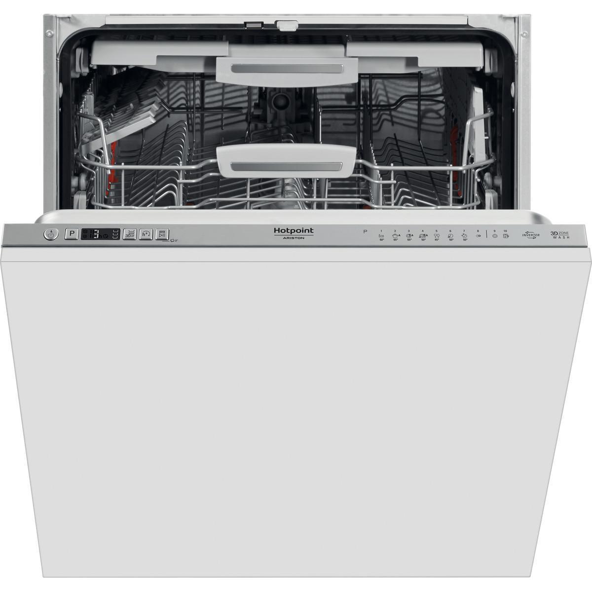 Fotografie Masina de spalat vase incorporabila Hotpoint HIC3O33WLEG, 14 seturi, 10 programe, Clasa D, Zone Wash 3D, Motor Inverter, Sistem ActivEco, Alb
