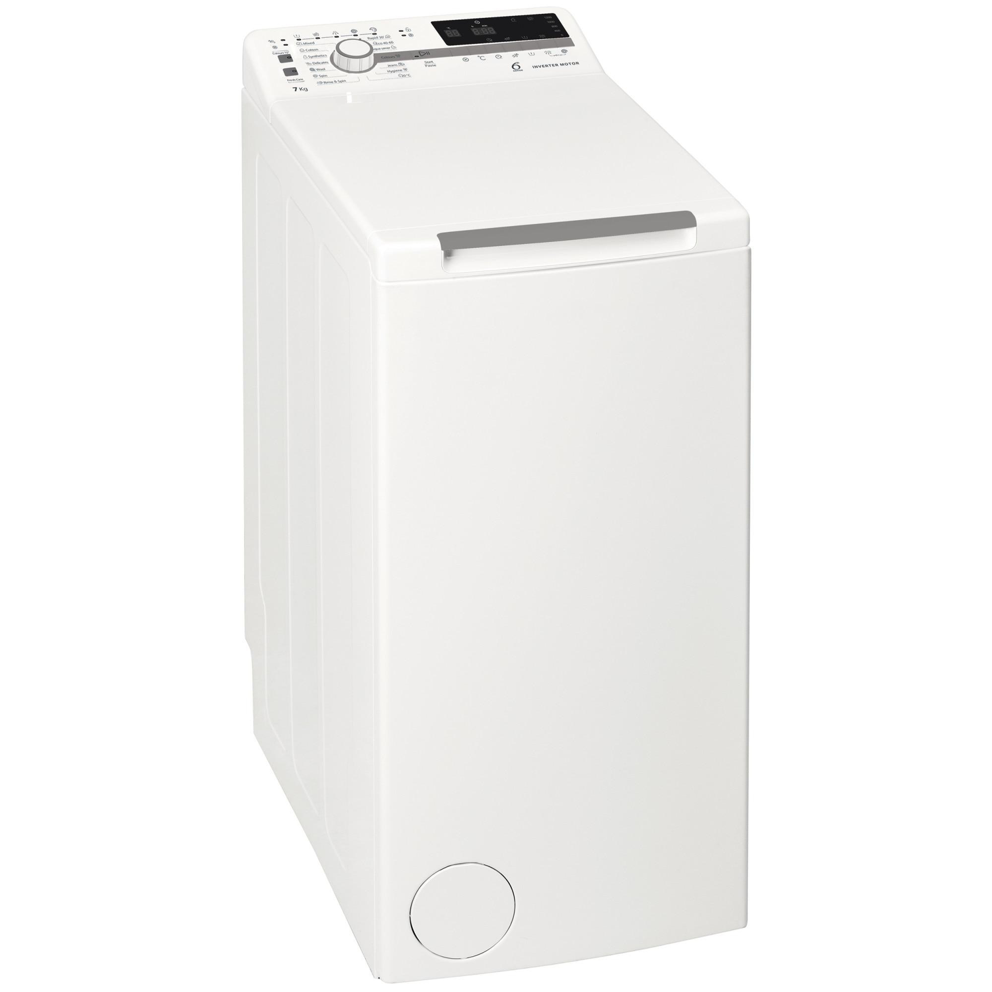 Fotografie Masina de spalat rufe cu incarcare verticala Whirlpool TDLR7221BSEUN, 7 kg, 1200 RPM, Clasa A+++, Tehnologia al 6-lea simt, Motor Inverter, Display digital, Alb