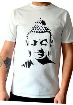 Tricou Buddha, Pictat manual, Alb/Negru, 100% Bumbac, Alb