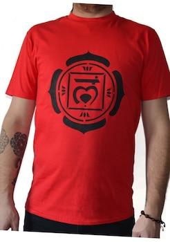 Tricou Chakra radacina Muladhara, Pictat manual, Rosu/Negru, 100% Bumbac, Rosu