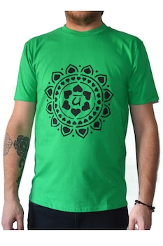 Tricou Chakra Inimii Anahata, Pictat manual, Verde/Negru, 100% Bumbac, Verde