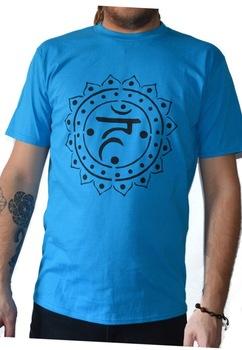 Tricou Chakra Gatului Vishuddha, Pictat manual, Albastru deschis/Negru, 100% Bumbac, Albastru deschis