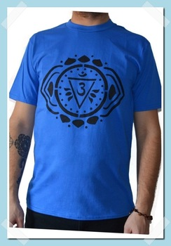 Tricou Chakra Al Treilea Ochi Ajna, Pictat manual, Albastru/Negru, 100% Bumbac, Albastru