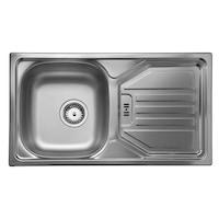 Konyhai csepegtetős mosogató szűrőkosaras leeresztővel, CM Point 1V, acél, 78x43,5 cm