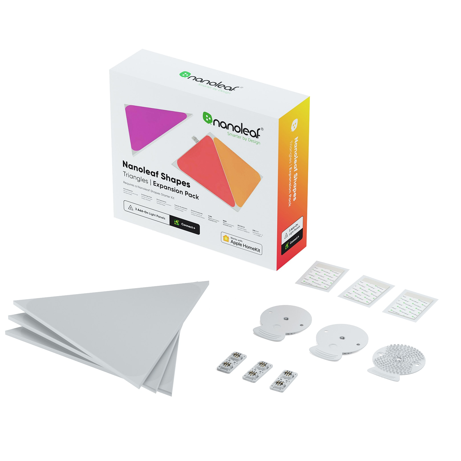 Fotografie Panouri luminoase LED modulare inteligente Nanoleaf pentru extindere Kit Shapes Triangles, RGBW, 240 lm, 3 panouri