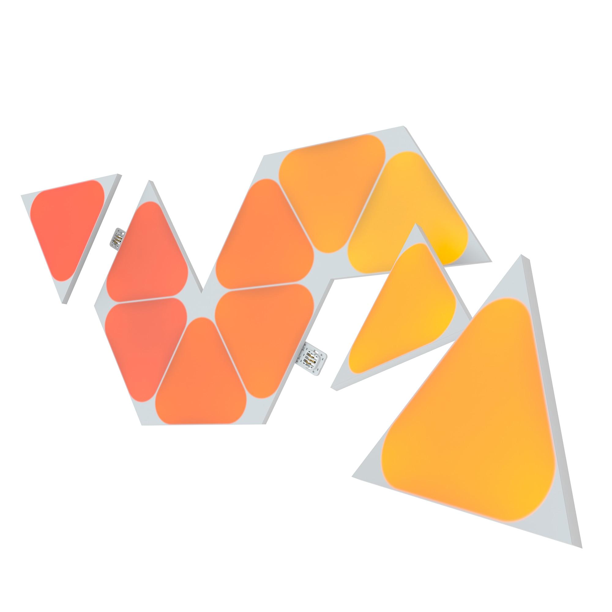 Fotografie Kit panouri luminoase LED modulare inteligente Nanoleaf Shapes Triangles Mini Expansion Pack, RGBW, W-Fi, 200 lm, senzor muzica, compatibil iOS/Android, Apple HomeKit/Google Home/Amazon Alexa, 10 panouri