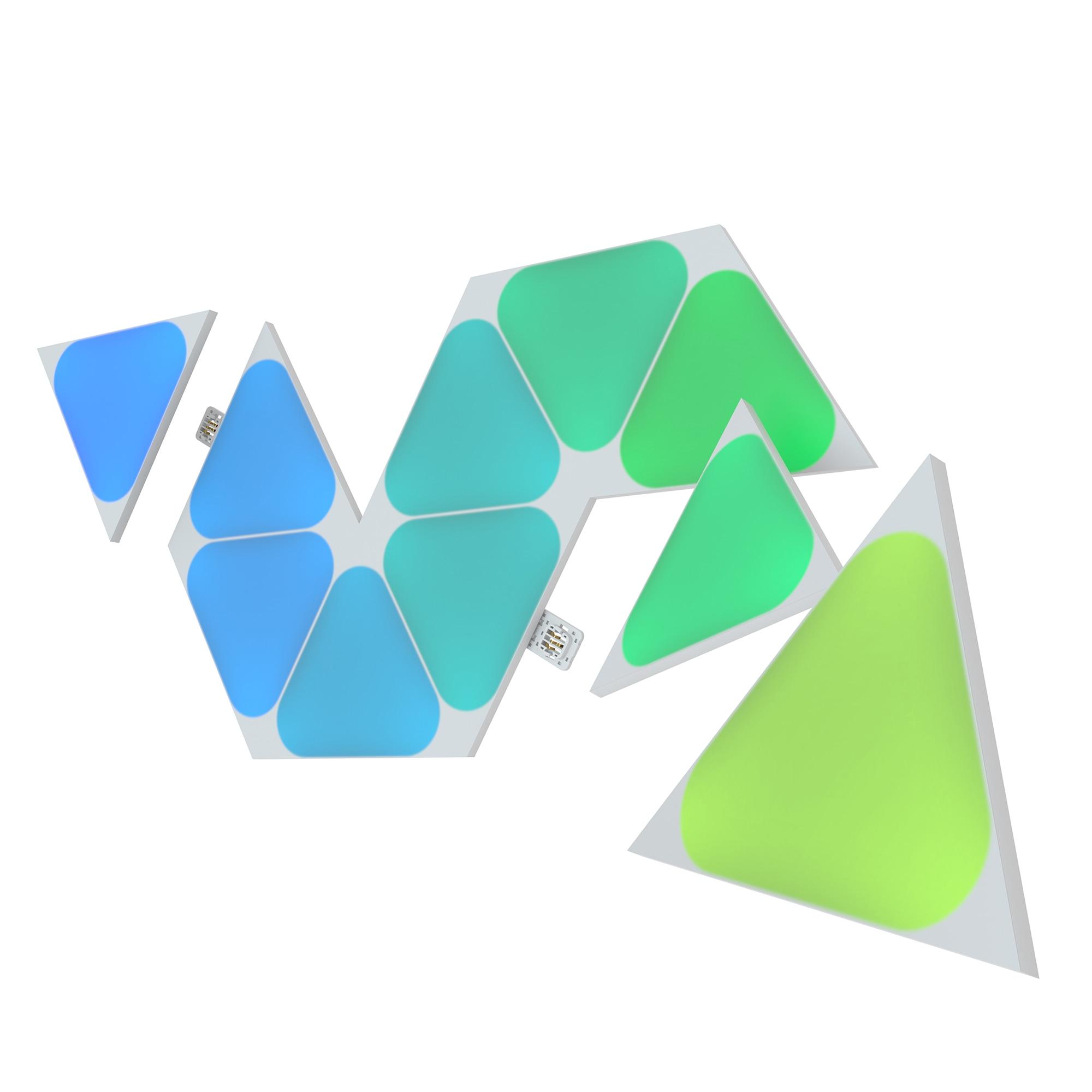 Fotografie Kit panouri luminoase LED modulare inteligente Nanoleaf Shapes Triangles Mini Starter Kit, RGBW, W-Fi, 100 lm, senzor muzica, compatibil iOS/Android, Apple HomeKit/Google Home/Amazon Alexa, 5 panouri