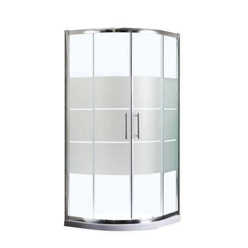 Fotografie Cabina de dus semirotunda Kroner Round 2 79CD3530, usa culisanta, geam sablat, sticla securizata, 5mm, 90x90x185cm, profil crom