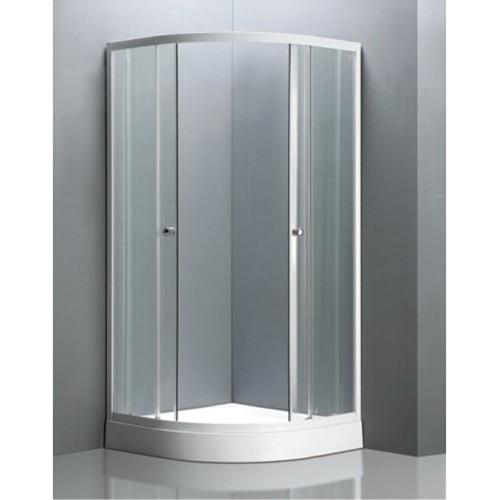 Fotografie Cabina de dus semirotunda Kroner Round 2 79CD3526, reversibila, usa culisanta, geam transparent, sticla securizata, 6mm, 90x90x190cm, profil alb