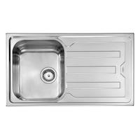 Konyhai csepegtetős mosogató szűrőkosaras leeresztővel, CM Cristal 010013, acél, 86x50 cm