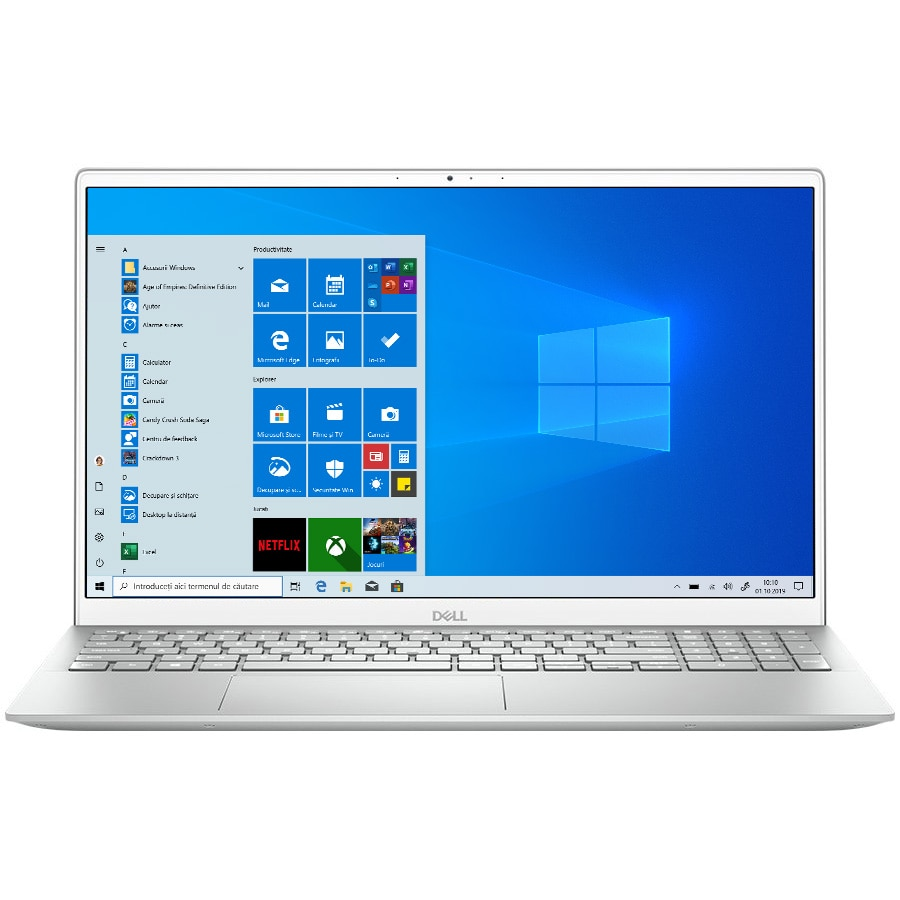 "Fotografie Laptop Dell Inspiron 15 5505 cu procesor AMD Ryzen 5 4500U pana la 4.00 GHz, 15.6"", Full HD, 8GB, 512GB SSD, AMD Radeon Graphics, Windows 10 Home, Platinum Silver"