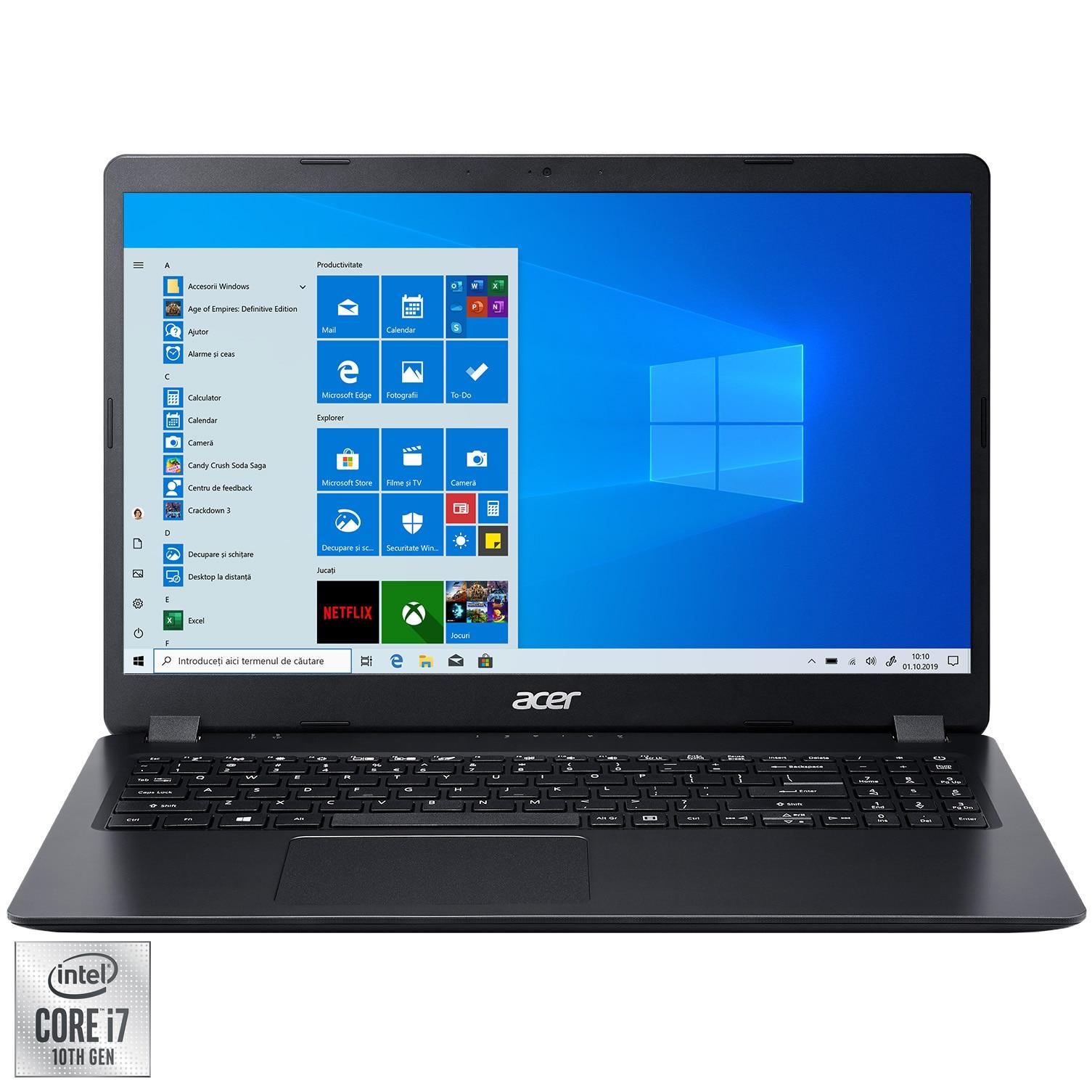 "Fotografie Laptop Acer Aspire 3 A315 cu procesor Intel Core i7-1065G7 pana la 3.90 GHz, 15.6"", Full HD, 8GB, 1TB SSD, Intel Iris Plus Graphics, Windows 10 Home, Black"