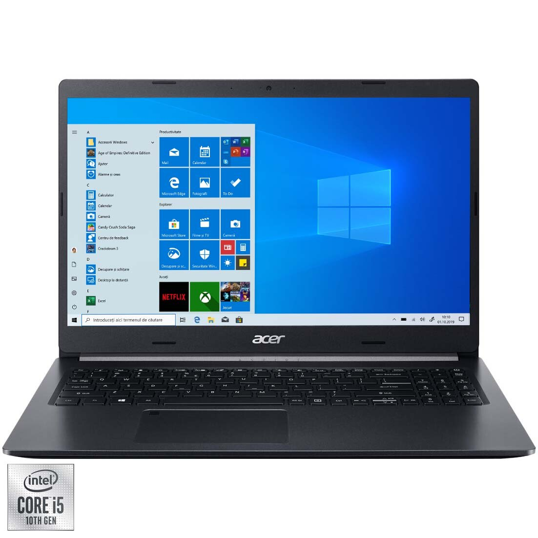 "Fotografie Laptop Acer Aspire 5 A515 cu procesor Intel® Core ™ i5-1035G1 pana la 3.60 GHz, 15.6"", Full HD, 8GB, 512GB SSD, Intel® UHD Graphics, Windows 10 Home, Black"