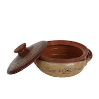 Oala/cratita sarmale cuptor, rotunda, ceramica, cu capac, 2 litri, 9x 22, bej/maro