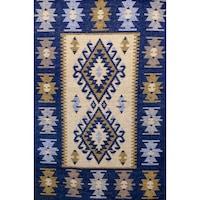 Szőtt szőnyeg Golden Daisy , 80 x 400 cm, Kék