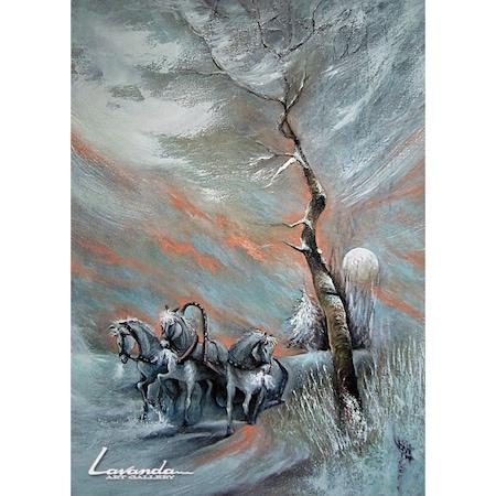 "Зимна картина ""Виелица"" от Бранимир Димитранов, Платно на подрамка, Маслени бои, Фирнис сатен, 50x70 см"
