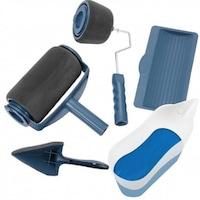 Комплект валяци с резервоар четка за ъглово боядисване мерителна кана и легенче, 5 части
