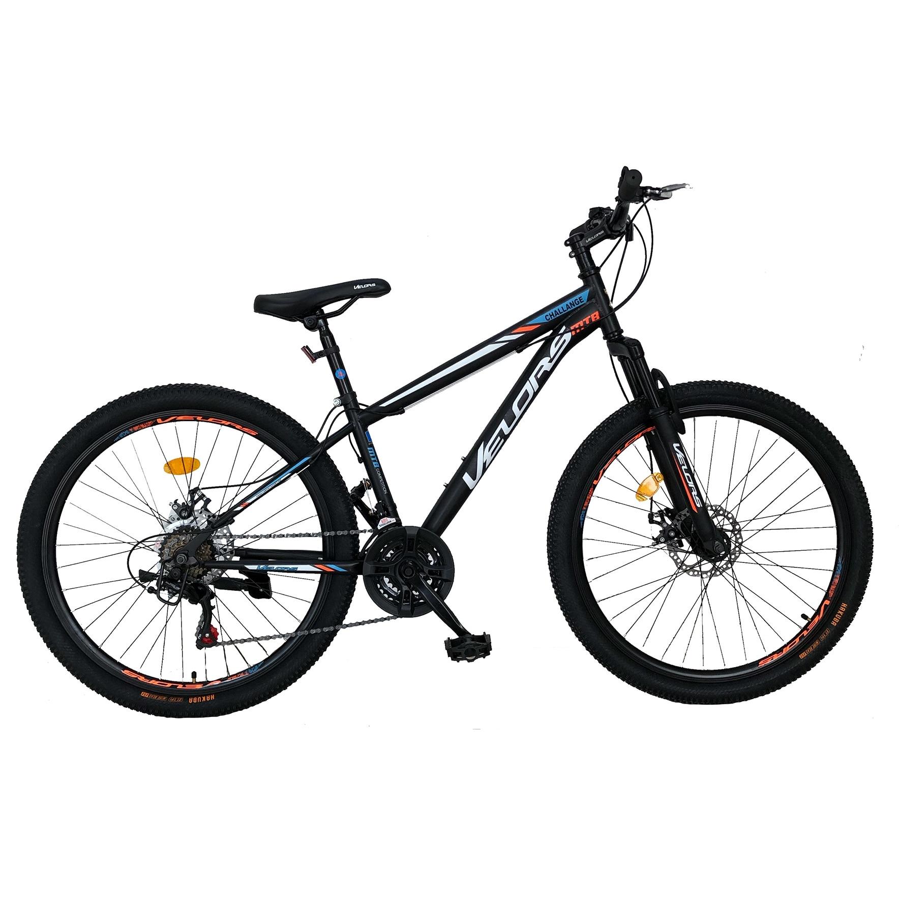 "Fotografie Bicicleta MTB 26"" Velors Challenge V2610A, Roti 26 Inch, Manete Schimbator Secventiale 21 Viteze, Frane Disc fata/spate, Negru/Alb/Portocaliu"