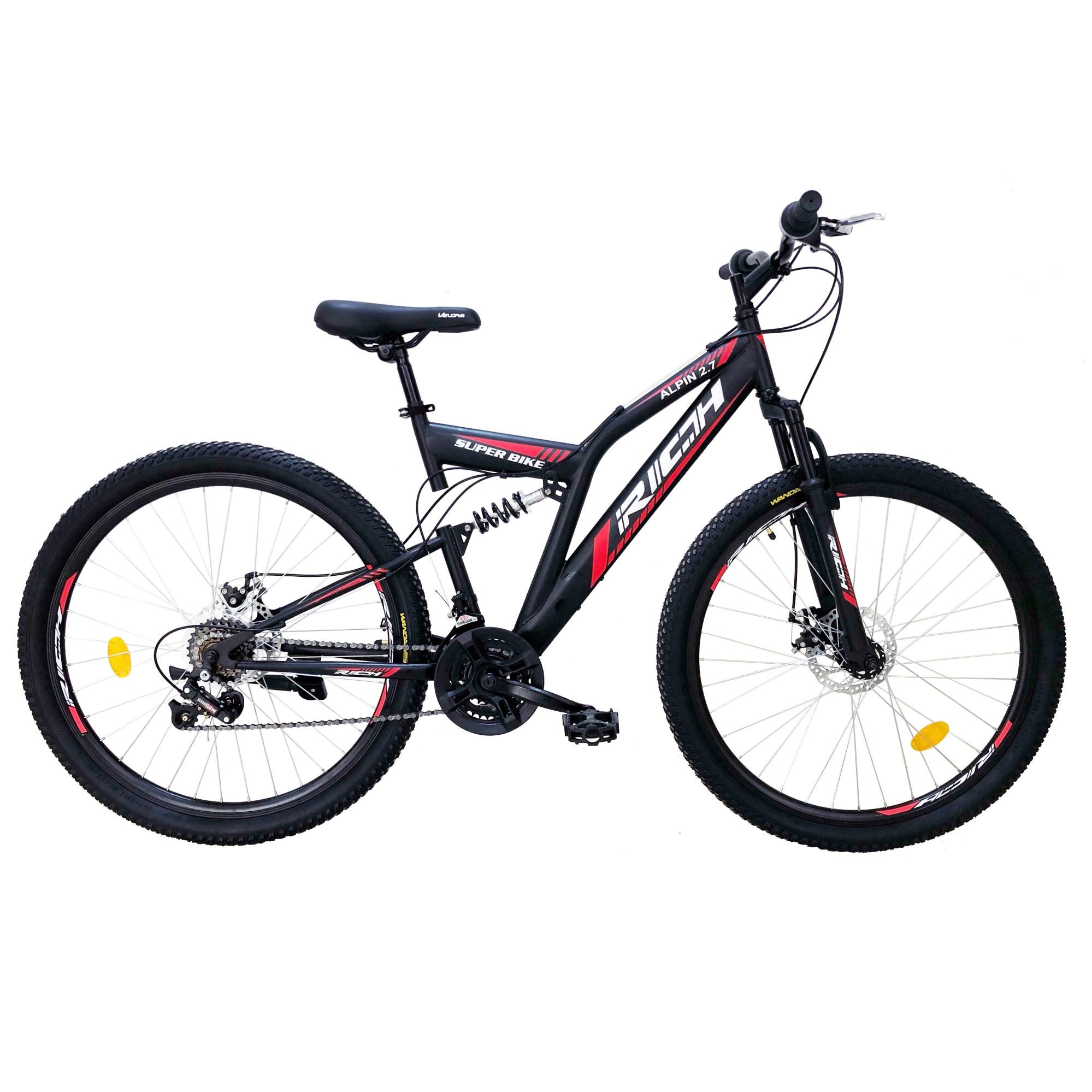 "Fotografie Bicicleta MTB Rich 27.5"" R2750D FS, Negru/Alb/Rosu"