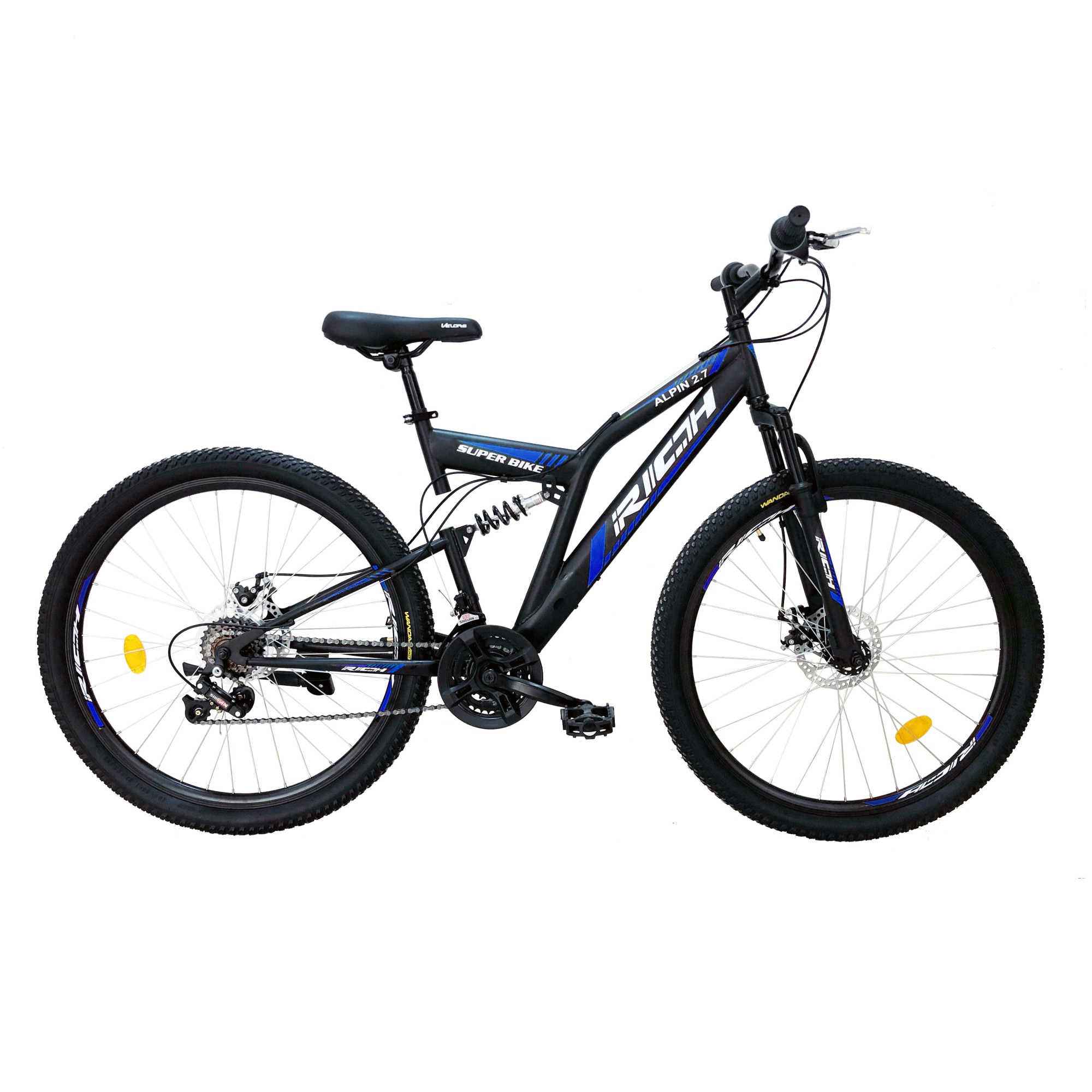 "Fotografie Bicicleta MTB Rich 27.5"" R2750D FS, Negru/Alb/Albastru"
