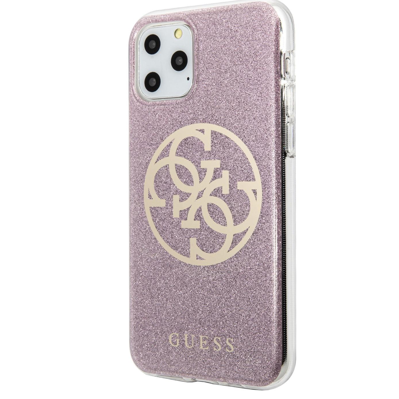 Fotografie Husa de protectie Guess Glitter Circle pentru iPhone 11 Pro Max, Gold-Pink