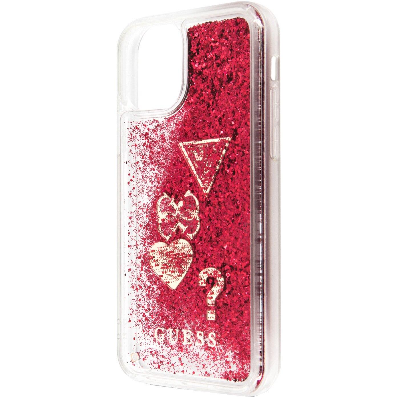 Fotografie Husa de protectie Guess Glitter Hearts pentru iPhone 11 Pro Max, Raspberry