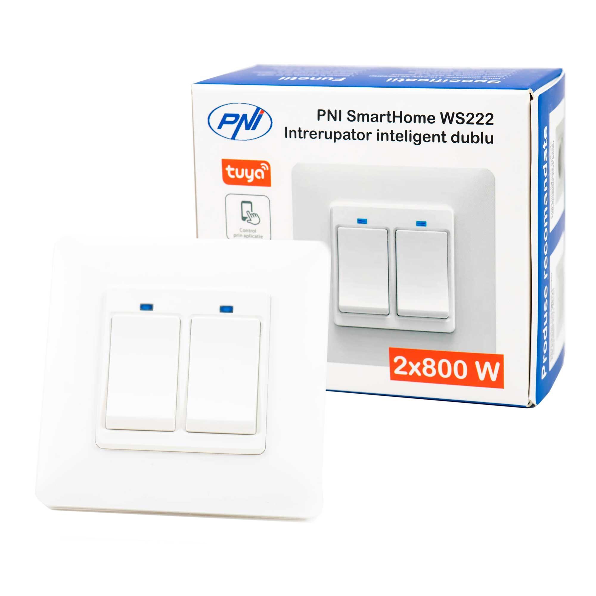 Fotografie Intrerupator inteligent dublu PNI SmartHome WS222, Wi-Fi, 2x800W, cu revenire, App Tuya Smart, compatibil Amazon Alexa/Google Home, Alb